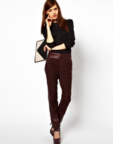 Asos Peg Trouser in Leather and Suede Panels