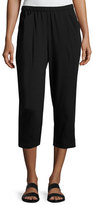 Eileen Fisher Organic Stretch Jersey Cropped Pants, Black, Petite