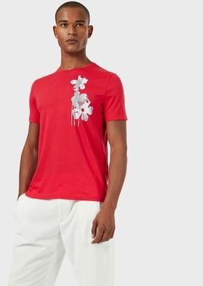 Emporio Armani Watercolour Flower Print Jersey T-Shirt