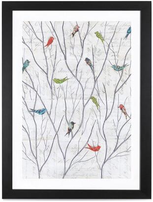 iCanvas Summer Birds Background I By Courtney Prahl Black Framed Fine Art Paper Print