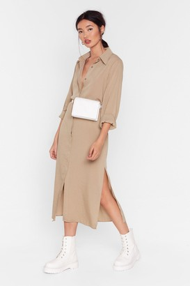 BEIGE Nasty GalNasty Gal Womens Don'T Get Shirty Belted Midi Dress 12,