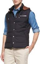 Brunello Cucinelli Wool Hooded Vest, Navy