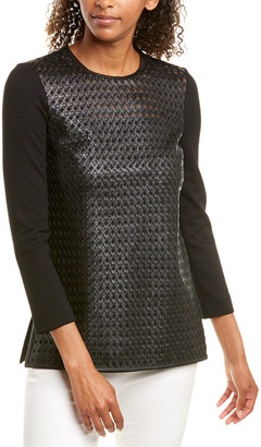 Escada Leather-Front Top