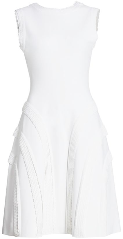 Alaia Sleeveless Scalloped Fit-&-Flare Dress