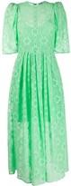 MSGM Floral Lace Pleated-Waist Midi Dress