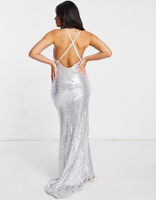 Club L London Club L low back sequin cami maxi dress with fishtail in silver
