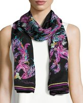 Roberto Cavalli Silk Jacquard Feather Scarf, Black