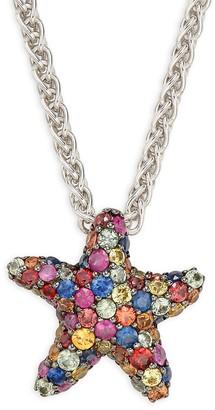 Effy Sterling Silver Multicolor Sapphire Starfish Pendant Necklace