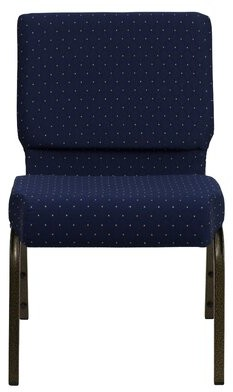 Ebern Designs MacArthur Guest Chair Finish: Gold Vein, Seat Color: Navy Blue Dot Patterned
