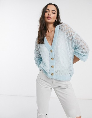 Y.A.S knitted cardigan with wide sleeves in blue