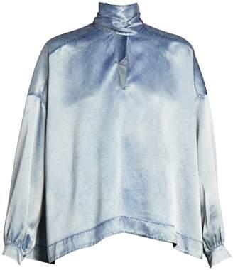 Balenciaga Vareuse Denim-Effect Silk Blouse