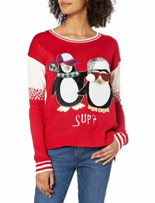 Blizzard Bay Women's Ugly Christmas Penguin Sweater Tux Red X-Small