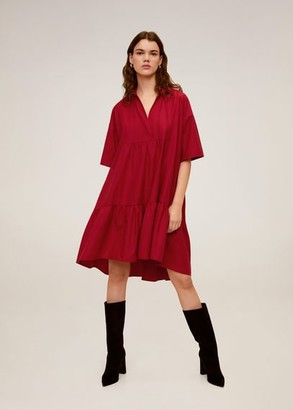 MANGO Ruffled shirt dress red - XS-S - Women