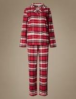 Marks and Spencer Pure Cotton Checked Flannel Revere Collar Pyjamas