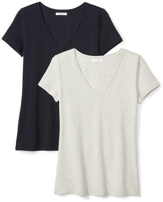 Daily Ritual Amazon Brand Women's Stretch Supima Short-Sleeve V-Neck T-Shirt