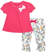Kushies Fuchsia I Love Spring Dress & Floral Leggings - Infant