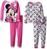 Disney Little Girls' Toddler Minnie Mouse 4-Piece Cotton Pajama Set