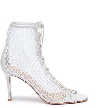 Gianvito Rossi 'Helena' open toe lace up mesh boots