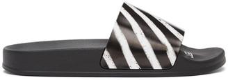 Off-White Black and White Spray Stripes Slides