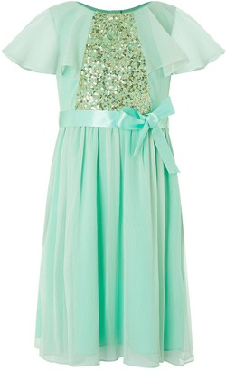 Monsoon Girls Ellie Cape Sequin Dress - Mint