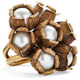 Ralph Lauren Flower Crystal-Pearl Ring