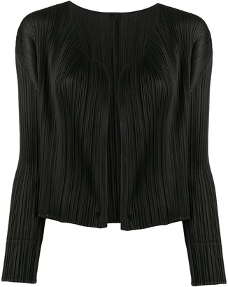 Pleats Please Issey Miyake Micro-Pleated Cropped Cardigan