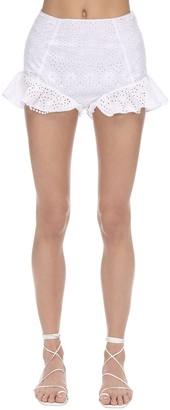 Charo Ruiz Ibiza Saza Ruffled Eyelet Lace Shorts