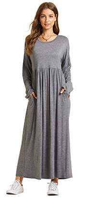 SONJA BETRO Amazon Brand Casual Fashion Solid Knit Jersey Empire Waisted Long Sleeve Maxi Long Dress XXX-Large Charcoal