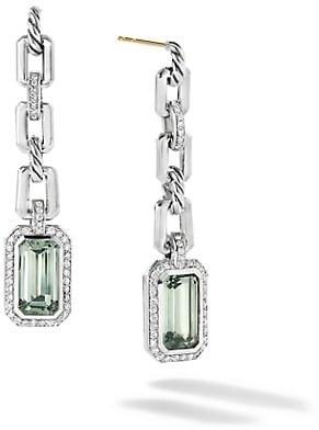 David Yurman Novella Sterling Silver, Blue Topaz & Diamond Drop Earrings