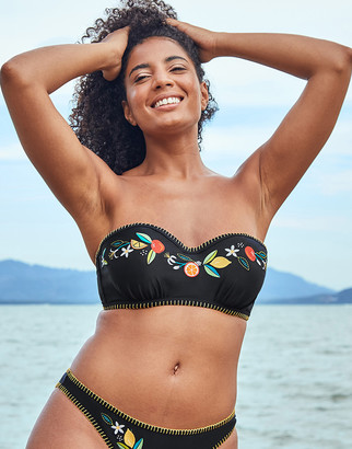 Figleaves Seville Underwired Embroidered Black Bandeau Strapless Bikini Top C-G