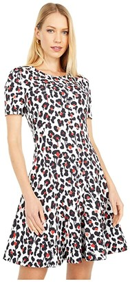 Boutique Moschino Cheetah Print Dress (White Multi) Women's Clothing