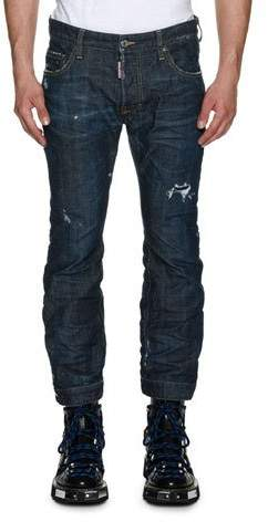 DSQUARED2 Biker Ski Distressed Straight-Leg Jeans