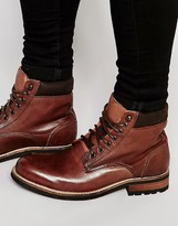 Bellfield Worker Boots In Brown Leather