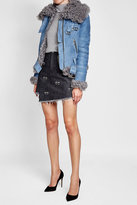 Sandy Liang Suede Jacket with Shearling