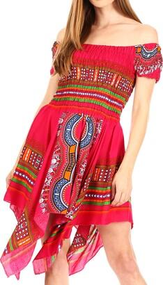 Sakkas TH356 - Femi Women's Casual Cocktail Off Shoulder Dashiki African Stretchy Dress - Fuchsia - OS