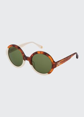 Carolina Herrera Round Two-Tone Acetate Sunglasses