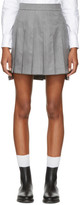 Thom Browne Grey Dropped Back Pleated Miniskirt