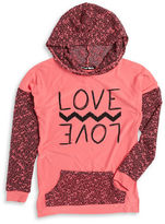 Planet Gold Girls 7-16 Graphic Mixed Knit Hoodie
