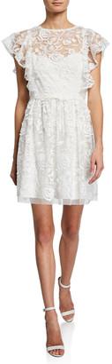 ML Monique Lhuillier Lace Illusion Flutter-Sleeve Dress