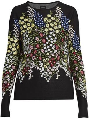 Giambattista Valli Floral-Embroidered Cashmere & Silk Sweater