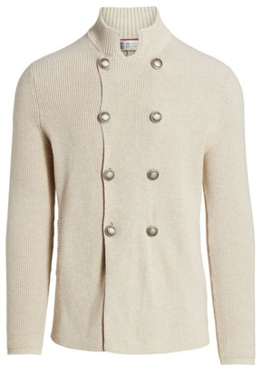 Brunello Cucinelli Chunky Knit Double-Breasted Cardigan