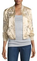 3x1 Suka Satin Floral-Embroidered Bomber Jacket, Champagne
