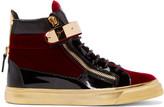 Giuseppe Zanotti Black & Red Velvet London High-Top Sneakers
