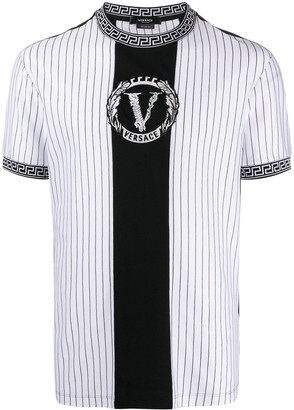 Versace striped logo embroidered T-shirt