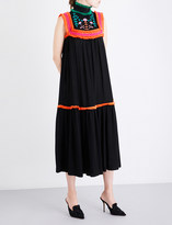 Veronique Branquinho Floral-embroidered ruffle-trim twill maxi dress