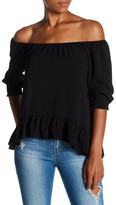 Lily White Ruffle Hem Off-the-Shoulder Shirt