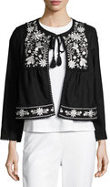 Kate Spade Embroidered Boxy Open-Front Jacket, Black