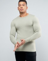 Asos Extreme Muscle Long Sleeve T-shirt In Light Green