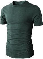 H2H Mens Casual Slin Fit Short Sleeve Crew-neck T-Shirts SILVERGRAY US L/Asia XL (KMTTS0379)