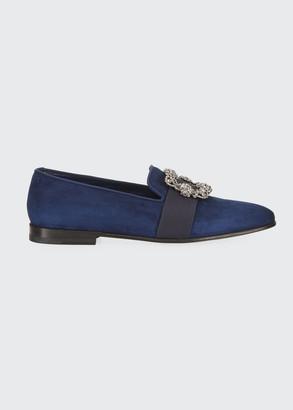 Manolo Blahnik Men's Beau Brummell Carlton Suede Jeweled-Buckle Loafers